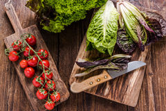 Spring fresh vegetable on wooden table, clean eating Stock Photography