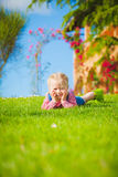 Spring fun and cute little girl smiling Royalty Free Stock Photo