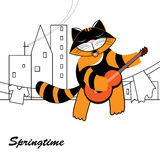 Spring, funny cat Stock Photo