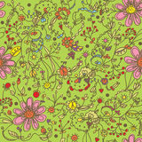 Spring funny seamless floral pattern Royalty Free Stock Images