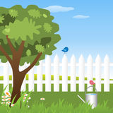 Spring garden. Illustration of a spring garden with a fence,grass,daisies,a tree,a watering can and two birds.EPS file available Royalty Free Stock Photos