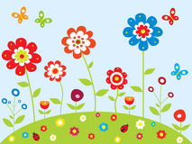 Spring garden. Spring background with butterfly and flowers garden Stock Images