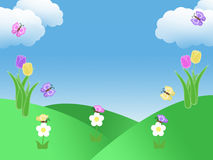 Spring garden background with tulips butterflies blue sky green grass and clouds illustration with copy space Stock Image