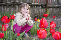 Spring in the garden of a beautiful little girl sitting near tul Stock Photography