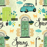 Spring garden and blooming irises, cats and cars. Calligraphy vector illustration