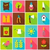 Spring Garden Colorful Icons Royalty Free Stock Photos