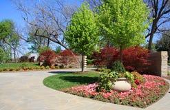 Spring garden background. Beautiful spring garden on Dallas Arboretum, TX USA Royalty Free Stock Images
