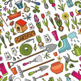 Spring garden doodle seamless pattern.Colored Royalty Free Stock Photography