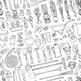 Spring garden doodle seamless pattern.Outline tools,plants Stock Photography