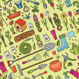 Spring garden doodles.Colored seamless pattern Stock Photography
