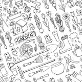 Spring garden doodles.Colored seamless pattern.Linear Royalty Free Stock Photography