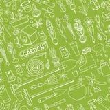 Spring garden doodles.Colored seamless pattern.Linear Stock Photos