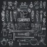 Spring garden doodles.Flowers,bulbs,plants,tools.Chalk Stock Photo