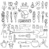 Spring garden doodles.Flowers,bulbs,plants,tools Stock Photography