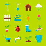 Spring Garden Flat Objects Set with Shadow Royalty Free Stock Images
