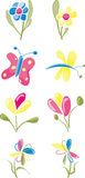 Spring Garden Flowers. And butterflies Stock Images