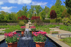 Formal Garden. Spring Formal Garden with Fountain and flowers and paved path on blue sky background. Formal garden is a garden laid out on regular lines with Stock Images