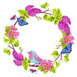 Spring garden frame. Natural illustration with blossom flower, robin birdie and butterfly.  Royalty Free Stock Images
