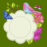 Spring garden frame. Natural illustration with blossom flower, robin birdie and butterfly.  Royalty Free Stock Photo