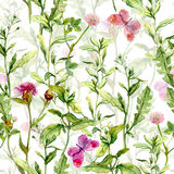Spring garden: grass, flowers, butterflies. Vintage watercolor. Seamless pattern Royalty Free Stock Images