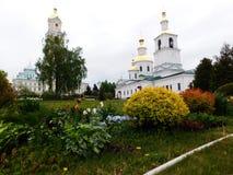 Spring garden on the monastery territory Stock Photos