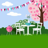 Spring garden party barbecue background with blossoming cherry tree, flat design,  Royalty Free Stock Photography