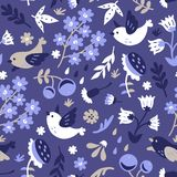 Spring garden pattern. Vector seamless background pattern with spring flowers and birds Royalty Free Stock Images
