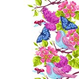 Spring garden seamless pattern. Natural illustration with blossom flower, robin birdie and butterfly.  Royalty Free Stock Photos