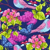 Spring garden seamless pattern. Natural illustration with blossom flower, robin birdie and butterfly.  Royalty Free Stock Images