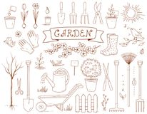 Spring garden and set of tools Stock Image