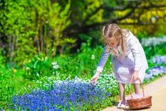 Spring garden, spring flowers, dorable little girl Stock Images