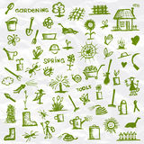 Spring. Garden tools sketch Stock Photos