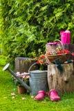 Spring garden tools utensils gardening Stock Images