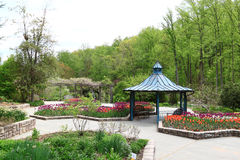 Spring Garden. With tulips and pavilion Royalty Free Stock Photography