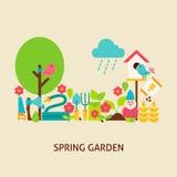 Spring Garden Vector Flat Concept Stock Photography