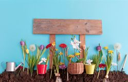Spring garden with wooden sign post stock photos