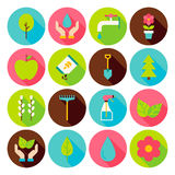 Spring Gardening Circle Icons Set with long Shadow Stock Photography