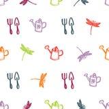 Spring gardening Colorful dragonflies Seamless pattern Royalty Free Stock Photos