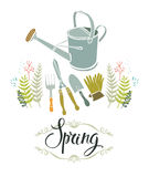 Spring gardening design card Royalty Free Stock Photography