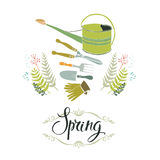 Spring gardening design card with tools Royalty Free Stock Photos