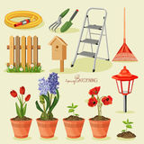 Spring gardening design elements Royalty Free Stock Photo