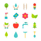 Spring Gardening Flat Objects Set isolated over White Royalty Free Stock Image