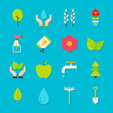 Spring Gardening Flat Objects Set with Shadow Stock Photography