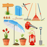 Spring gardening. Garden icon set Stock Photos