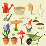 Spring gardening. Garden icon set Royalty Free Stock Photos