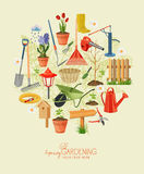 Spring gardening. Garden icon set. Vintage poster Royalty Free Stock Photos
