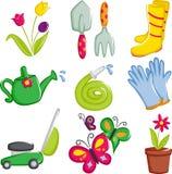 Spring gardening icons royalty free stock photos