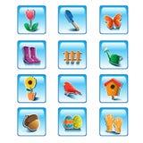 Spring gardening icons Royalty Free Stock Image