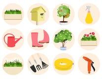 Spring gardening icons set Stock Photo