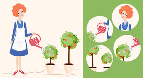 Spring gardening illustration and icons Royalty Free Stock Photo